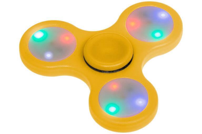 Fidget Spinner med Lys - Gul-30508
